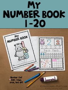 Printable number book worksheets (1-20) for preschool, pre-k, kindergarten, and 1st grade.