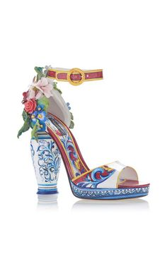 Dolce & Gabbana's sandals are adored for their ornate, decorative heels — this sculptural style is adorned with acrylic floral appliques. Dolce & Gabbana, Dolce Gabbana Sneakers, Funky Shoes, Me Too Shoes, Shoe Boots, Shoes Heels, Embellished Shoes, Shoe Art, 70s Fashion
