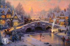 Thomas Kincaid- Spirit of Christmas  Thomas Kincaid is one of my favorite painter/artists EVER!  There is not one painting that I have seen that I don't love.  I get lost in a whole fantasy world looking at his paintings.  Oh, someday to own a HUGE painting of his...