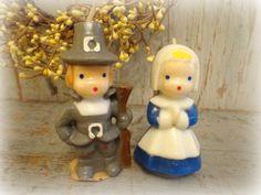vintage gurley thanksgiving candles / pilgrim by AntiqueShopGirl, $10.00