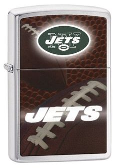 """Zippo Pocket Lighter NFL NY Jets Brushed Chrome Pocket Lighter. Genuine Zippo windproof lighter with distinctive Zippo """"click"""". All metal construction; windproof design works virtually anywhere. Refillable for a lifetime of use; for optimum performance of every Zippo lighter we recommend genuine Zippo premium lighter fluid, flints and wicks. Made in USA; lifetime guarantee that """"it works or we fix it free"""". Fuel: Zippo premium lighter fluid (sold separately)."""
