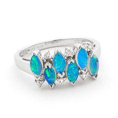 Opal Jewelry 14k White Gold Solid Light Opal Ring, opal jewellery
