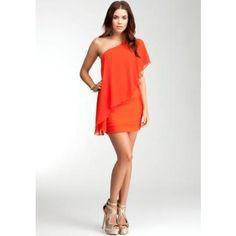 Bebe One Shoulder Ruffle Dress Red Clay BEAUTIFUL!
