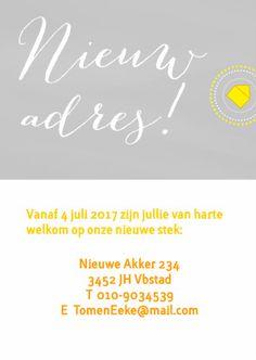 #Verhuiskaart zonnig zomers #adreswijziging #geel #grijs @kaartje2go