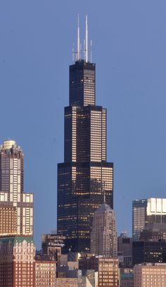 Willis Tower (Formerly Sears Tower). Great view of Chicago from here. I spotted the Chicago Sun Times immediately. Places In Chicago, Chicago Photos, Chicago City, Chicago Skyline, Chicago Illinois, Chicago Usa, Amazing Buildings, Amazing Architecture, Chicago Attractions