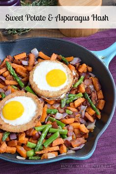 A great quick breakfast or brunch recipe! This hash is made with sweet potatoes and asparagus with a baked egg on top. #SpringIntoFlavor #Ad