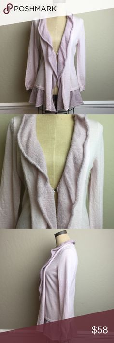 Anthropologie long length cardigan w/ruffle trim Pretty lavender color!  Lighter weight cardigan sweater with single hook and eye front closure. Ruffle trim Anthropologie Sweaters Cardigans