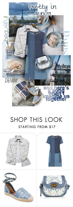 """""""Pretty in Denim"""" by sagramora ❤ liked on Polyvore featuring Versace, J Brand, Valentino and WALL"""