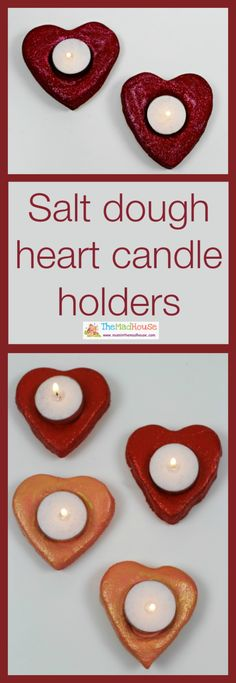 Salt dough valentine candle and tealight holders - Mum In The Madhouse.  These are so much fun to make with the kids