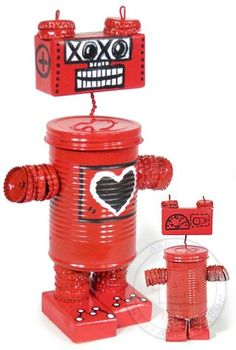 Roven Red Robot with Heart : Sweet Art Attack : Folk Art Robots : Hand ...