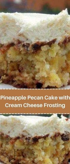 Cream Cheese Fristing, Cake With Cream Cheese, Pineapple Dessert Recipes, Pineapple Cake, Easy Cake Recipes, Easy Desserts, Crowd Recipes, Bakery Style Cake, Apple Crumb