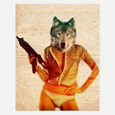 Wolf Girl print. John Keddie.
