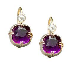 Amethyst Diamond Gold Earrings by Marie E. Betteley   From a unique collection of vintage drop earrings at http://www.1stdibs.com/jewelry/earrings/drop-earrings/