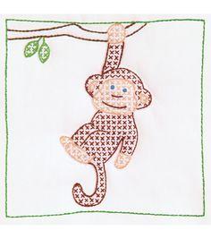 "Stamped White Quilt Blocks 9""X9"" 12/Pkg-Monkey: stamped cross stitch kits: cross stitch: yarn & cross stitch: Shop | Joann.com"