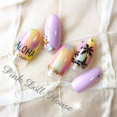 ネイル 画像 pink doll house おもろまち 1044024 カラフル 変形フレンチ 夏 ソフトジェル ハンド Beach Nail Art, Beach Nails, Winter Nails, Summer Nails, Love Nails, Pretty Nails, Tropical Nail Designs, Sculpted Gel Nails, Tribal Nails
