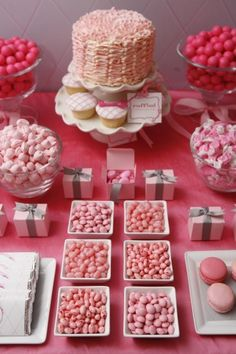 All pink candy / sweet / dessert buffet - pink must be the easiest colour to theme for sweets and desserts (love the pink macaroons), jelly beans are a good idea of a way of theming in hard to find colours. Jelly Belly must do every colour imaginable...