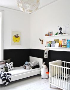 Dreamy And Soft Scandinavian Kids Room Decor Ideas - DigsDigs Boy And Girl Shared Room, Shared Rooms, Baby And Toddler Shared Room, Half Painted Walls, Painted Wainscoting, Wainscoting Height, Wainscoting Kitchen, Two Tone Walls, Scandinavian Kids Rooms
