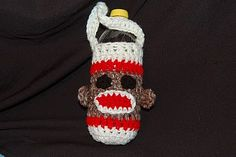 Crochet Sling Bags Posh Pooch Designs Dog Clothes: Sock Monkey Water Bottle Cozy Crochet Pattern - I thought, with the nice Spring Weather and everyone headed to the Dog parks, That a water bottle Cozy was needed. And what bette. Crochet Cozy, All Free Crochet, Crochet Crafts, Yarn Crafts, Crochet Projects, Crochet Dishcloths, Zoo Crafts, Kids Crochet, Crochet Summer