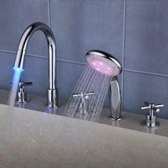 Contemporary Color Changing LED Waterfall Widespread Tub Tap with Hand Shower T0464F  http://www.uktaps.co.uk/bathtub-taps-c-21.html