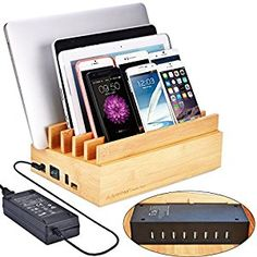 AmazonSmile: Avantree 100W 10 Ports Fast USB CHARGER & Bamboo Multiple Devices Charging Station Stand, QC 3.0, Type C, for Smartphones and Tablets - PowerPlant: Cell Phones & Accessories