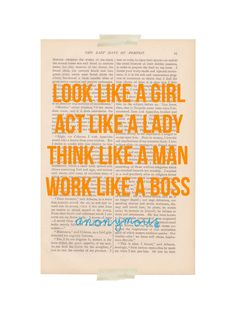 dictionary art print page ACT like a LADY Think Like a MAN print - vintage art book page print - motivational inspirational. $9.00, via Etsy.