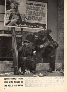 1942 One page article on Chimney Sweep in London and soap ration WWII Vintage Advertisements, Vintage Ads, Vintage Photos, Vintage London, Old London, Chimney Sweep, Clean Sweep, London United, Historical Images