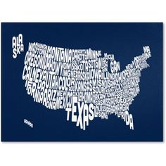 Trademark Art 'navy-USA States Text Map' Canvas Art by Michael Tompsett, Size: 14 x 19, Blue