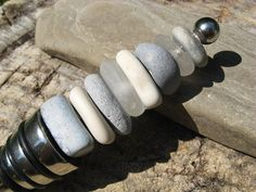 beach glass and stone wine stopper