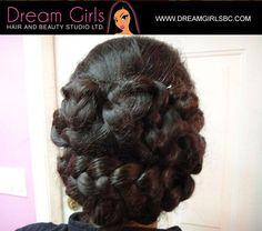 Braided bun hairstyle #braids #braidstyles #hairstyles #hairbun #braidedupdo #braidedbun  #style #partyhairdo #dreamgirls #beautystudio