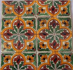 16 Mexican Talavera Tiles Ceramic Tiles Hand Made # 487