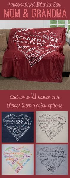 LOVE this personalized heart blanket! It's the perfect Mother's Day Gift idea for Mom or Grandma! You can personalize it with up to 21 names and you can pick from 5 colors ... SO cute!
