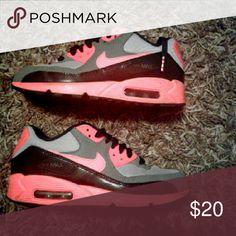 Nike Air Max sz 5 Youth Gray Neon Orange & Black Nike Shoes Athletic Shoes