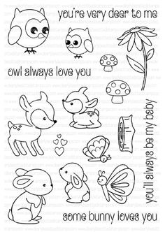 This inch Stamp set corrdinates with the Clearly Besotted Woodland Kisses die set. Dies measure approximately: Fawn x 1 inches Flower x 1 inch Doodle Drawings, Doodle Art, Random Drawings, Sketch Note, Some Bunny Loves You, Digital Stamps, Colouring Pages, Clear Stamps, Painted Rocks