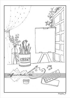 Knitting basket printable coloring page for adults