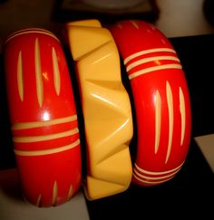Orange/Red Resin wash slash carved & zig zag bakelite