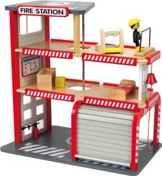 When danger arises, wooden doll families need to be able to rely on a doll safety network to save the day Keep your dolls safe with this eight piece station, including the fire station, fireman, treadmill, bed, desk, stool, fire extinguisher, and rappelling rope Develops motor skills, creativity, and role playing. toys4mykids.com
