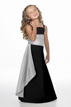Instead of black do hot pink with the silver sash. I know this is a flower girl dress, but we could see if it comes in adult sizes and it would be ok for the big chested girls.