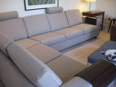 Compact (88 cm depth) corner sofa seating - with extra height achieved by adding headrest & leather backed wooden arm covers - a more contemporary solution to fabric arm covers.