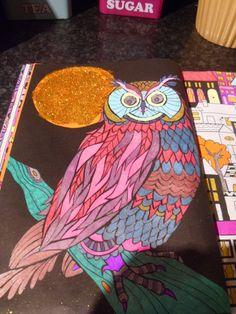 Book - The Neon Colouring Book. Media - Pastel,neon,glitter,metallic gel pens and gold glitter