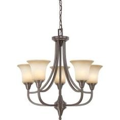 Glomar 5-Light Chandelier with Auburn Beige Glass Finished in Vintage Bronze-HD-4166 at The Home Depot