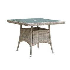 Cozy Bay Eden 1m Rattan 4 Seater Square Dining Table in Chic Walnut | Esprahome
