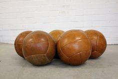 Vintage+Leather+Gym+Medicine+Balls+Czech+Circa+1950