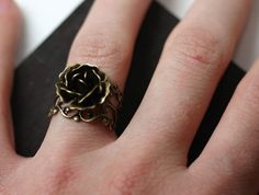 Steam Punk Rose Ring in Antique Brass by robinhoodcouture on Etsy, $18.00