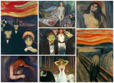 A selection of paintings by German Expressionist, Edvard Munch, whose work was a huge influence on David Bowie and his painting