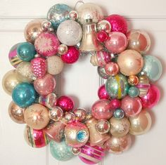 Vintage Ornament Wreath Shiny Brite Pinks and Aqua