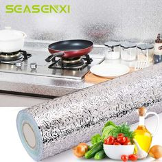 Kitchen Oil Proof Waterproof Sticker Stove Aluminum Foil Covers Self Adhesive Wallpapers Household Cabinet DIY Decor Tools. Material: eco-friendly Aluminum foil and EPE. Peel the sticker from the paper. Mosaic Tile Stickers, Tile Decals, Kitchen Stickers, Diy Wall Stickers, Thick Wallpaper, Kitchen Appliances Brands, Buy Kitchen, Kitchen Hacks, Waterproof Stickers