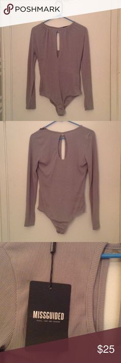 NWT grey ribbed bodysuit with keyholes NWT grey ribbed bodysuit with keyholes in the front and back Missguided Tops