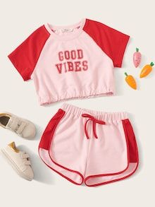 Girls Raglan Sleeve Letter Elastic Hem Top & Dolphin Shorts Set Check out this Girls Raglan Sleeve Letter Elastic Hem Top & Dolphin Shorts Set on Shein and explore more to meet your fashion needs! Cute Pajama Sets, Cute Pjs, Cute Pajamas, Pj Sets, Cute Lazy Outfits, Cool Outfits, Summer Outfits, Teen Fashion Outfits, Outfits For Teens