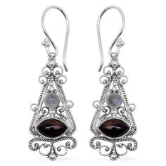 Bali Legacy Collection Indian Black Star Diopside (Mrq), Ethiopian Welo Opal Earrings in Sterling Silver Nickel Free TGW 2.00 Cts. | Earrings | Jewelry | Online Store | Liquidation Channel Site