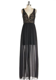 Taking the Plunge Dress. Dive into show-stopping glamour with this sweeping black gown. #black #prom #wedding #modcloth